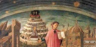 Dante Alighieri e il viaggio immaginario - Dante Alighieri nel dipinto di Domenico Michelino, mostra il suo poema. Sullo sfondo la città di Firenze e la montagna del Purgatorio
