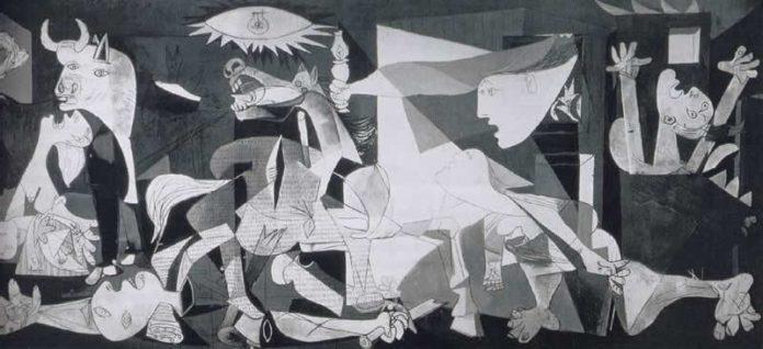 Pablo Picasso, Guernica, 1937. Olio su tela, 354x782 cm. Madrid, Museo d'Arte Moderna, Reina Sofia