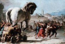 Il Cavallo di Troia - Giandomenico Tiepolo, L'ingresso del cavallo a Troia, secolo XVIII