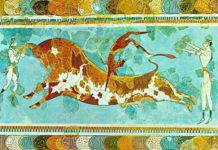 Taurocatapsia, 1500 a.C. circa, pittura parietale, da Cnosso.