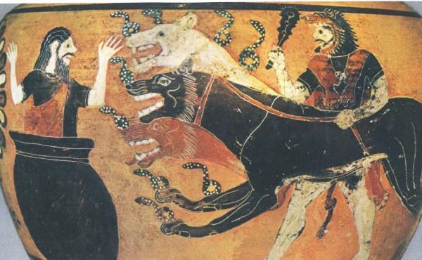 Pittura vascolare, Eracle e Cerbero, VII-VI secolo a.C.