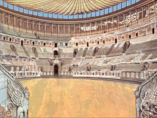 Ricostruzione dell'interno del Colosseo.