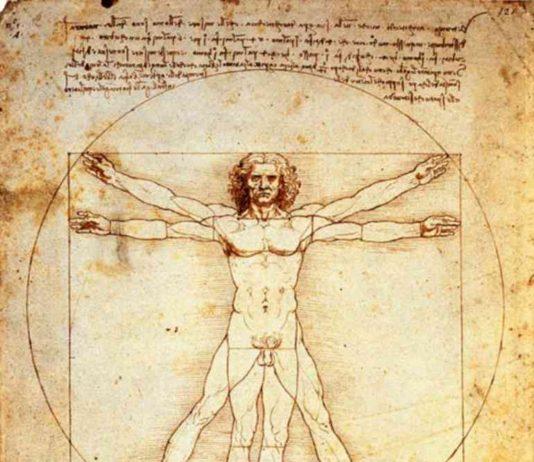 Leonardo da Vinci, Uomo vitruviano, 1490. Conservato nel Gabinetto dei Disegni e delle Stampe, presso le Gallerie dell'Accademia di Venezia