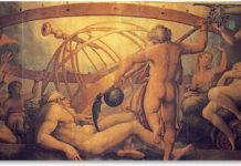 Storia di Urano e Crono - La mutilazione di Urano da parte di Crono (XVI secolo), Giorgio Vasari, Palazzo Vecchio, Firenze.
