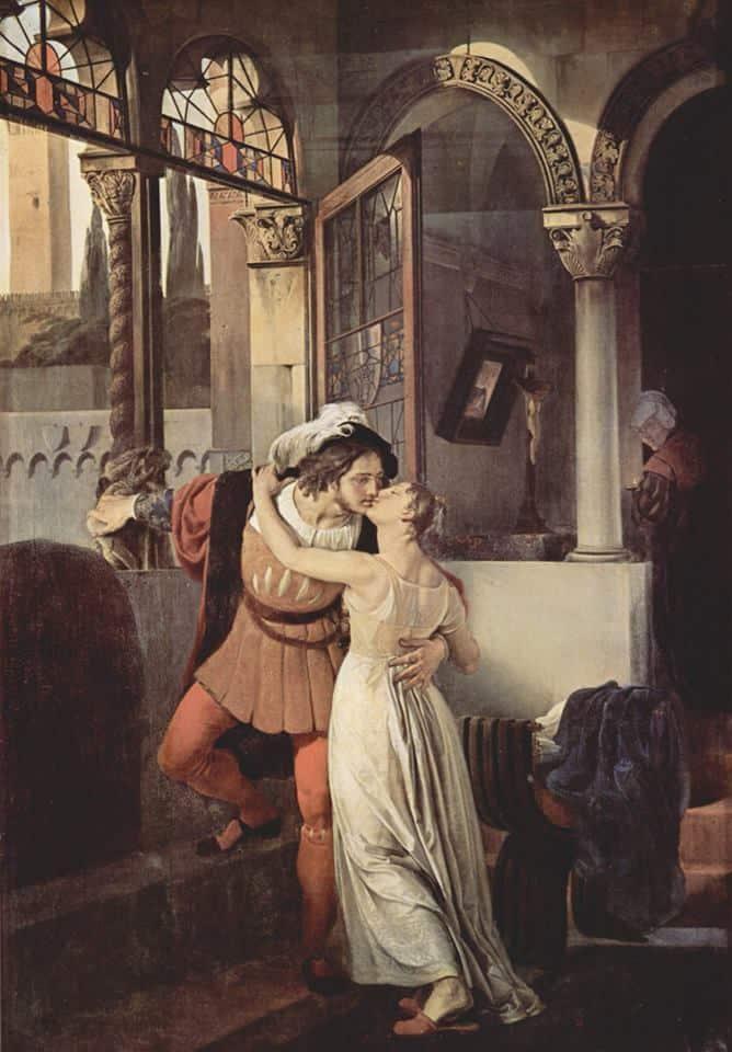 Francesco Hayez, Ultimo bacio di Romeo e Giulietta, 1823. Olio su tela, villa Carlotta, Tremezzo (Como)