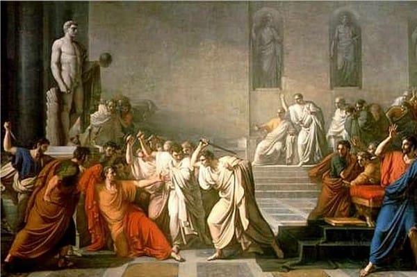 La morte di Giulio Cesare in un dipinto (1793 - 98) di Vincenzo Camuccini