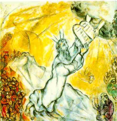 Mosè riceve le tavole della Legge sul monte Sinai, Marc Chagall.