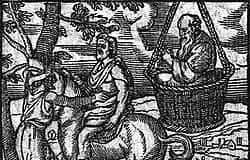 """Le nuvole (Aristofane) - Socrate nella cesta, il suo """"pensatoio"""", stampa del XVI secolo"""