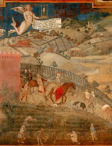 Ambrogio Lorenzetti, affresco, Effetti del Buon Governo in città e in campagna., particolare