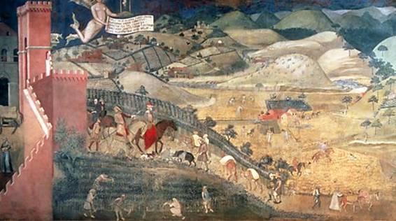Ambrogio Lorenzetti, affresco, Effetti del Buon Governo in città e in campagna, particolare.