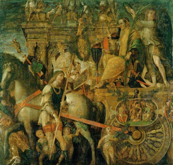 Cesare sul carro trionfale, particolare di un dipinto (1486 - 1501) commissionato ad Andrea Mantegna dai Gonzaga di Mantova per esaltare simbolicamente, attraverso la gloria di Cesare, la propria grandezza