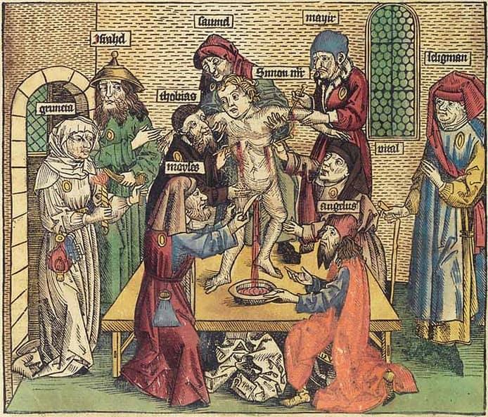 Simone da Trento - xilografia da Hrtmann Schedel, Cronaca di San Simone da Trento, 1493
