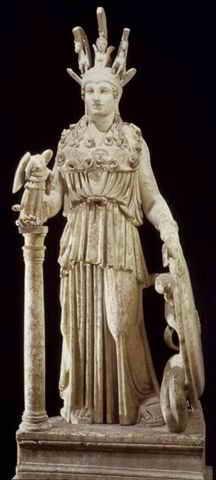 Fidia, Atena Parthènos, copia romana da originale in oro e avorio (438 a.C ca), marmo pentelico, h 104 cm. Atene, Museo Archeologico Nazionale