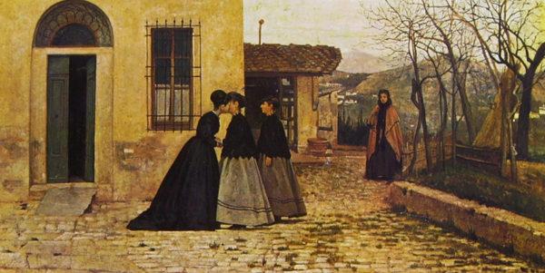 Silvestro Lega, La visita, 1868. Olio su tavola, 31x60 cm. Roma, Galleria Nazionale d'Arte Moderna.