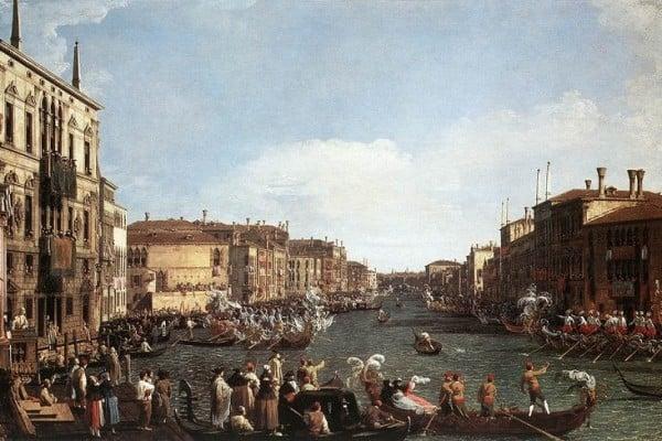 """Canaletto, """"Regata sul Canal Grande"""", 1730-1735. Olio su tela. Castello di Windsor, Royal Collection."""
