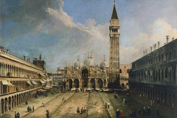 """Canaletto, """"Piazza San Marco verso la Basilica"""", 1723 circa. Olio su tela, 141,5x204,5 cm. Madrid, Museo Thyssen-Bornemisza."""