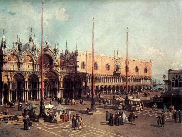 "Canaletto, ""La Piazza San Marco"". Olio su tela 50x82 cm. Washington, National Gallery of Art."