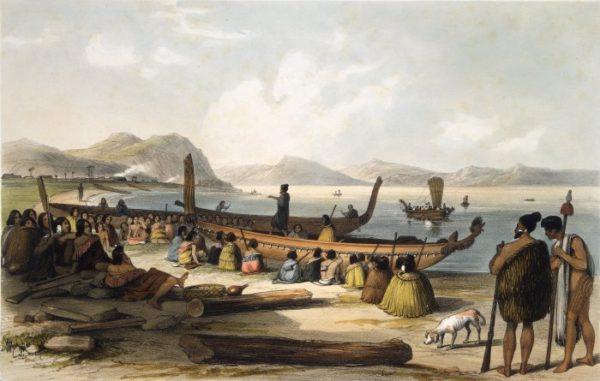 I Maori in procinto di attraversare l'Oceano Pacifico con le loro canoe.