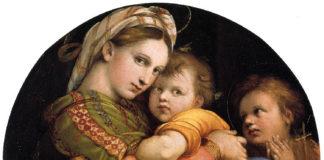 Raffaello Sanzio, La Madonna della seggiola, 1513-1514, olio su tavola, diametro 71 cm, Galleria Palatina di Palazzo Pitti a Firenze