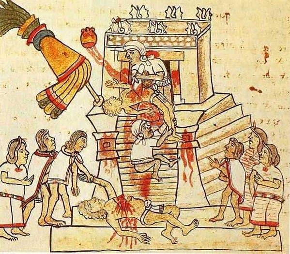 Sacrificio umano, 1550 [dal Codice Magliabechiano, Biblioteca Nazionale Centrale, Firenze]