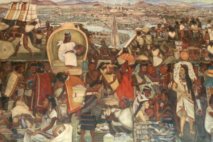 Appena sbarcato, Hernán Cortés incontrò una comunità di Indios poveri e pacifici, che lo accolsero con cordialità e gli si sottomisero; il loro re gli svelò l'esistenza di un popolo potente e terribile poco distante, che terrorizzava i popoli soggetti pretendendo vittime per i suoi sacrifici umani.