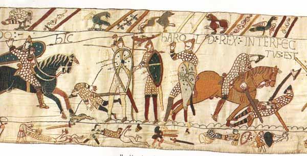 Un particolare dell'Arazzo di Bayeux, XI sec. [Musée de la reine Mathilde, Bayeux (Francia)].