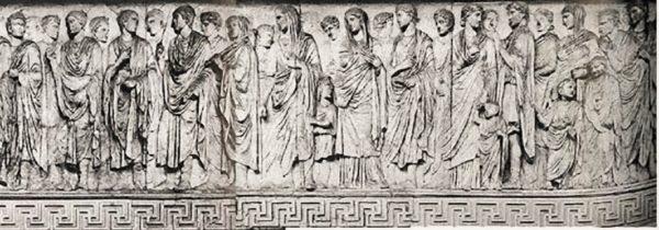 Ara Pacis, Processione dedicatoria, particolare della lastra sud, 13-9 a.C., marmo, Roma