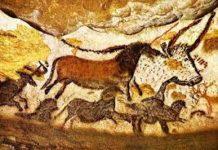 dipinti parietali, 18.000-16.000 a.C. le Grotte di Lascaux, Dordogna, Francia.