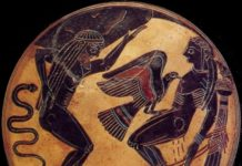 La punizione di Atlante e di Prometeo. Coppa in ceramica, VI secolo a.C. (Roma, Vaticano, Museo Etrusco)