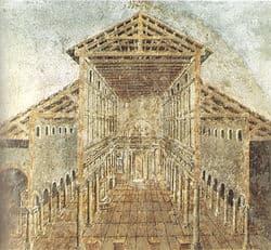 Affresco del XVII secolo riproducente la basilica di San Pietro a Roma eretta da Costantino.
