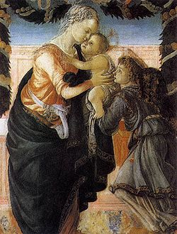"Sandro Botticelli, ""Madonna col Bambino stante e un angelo"", 1465 ca., tempera su tavola, 115,2x70 cm. Ajaccio (Corsica, Francia), Palais Fesch, Musées des Beaux-Arts."