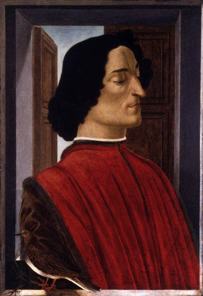 "Sandro Botticelli, ""Ritratto di Giuliano de' Medici"", 1478-1480, tempera su tela, 75,5x52,5 cm. Washington, National Gallery."