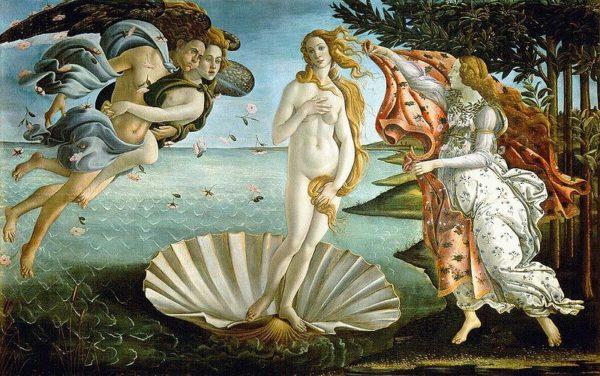 """Nascita di Venere"", 1485. Tempera su tela, 172,5x278,5 cm. Firenze, Galleria degli Uffizi."