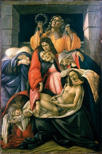 """Sandro Botticelli, """"Compianto sul Cristo morto"""""""", 1495-1500 ca., tempera su tavola, 107x71 cm. Milano, Museo Poldi Pezzoli."""