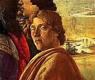 """Sandro Botticelli autoritratto in """"Adorazione dei Magi"""", 1475 ca., tempera su tavola. 111x134 cm. Firenze, Galleria degli Uffizi."""