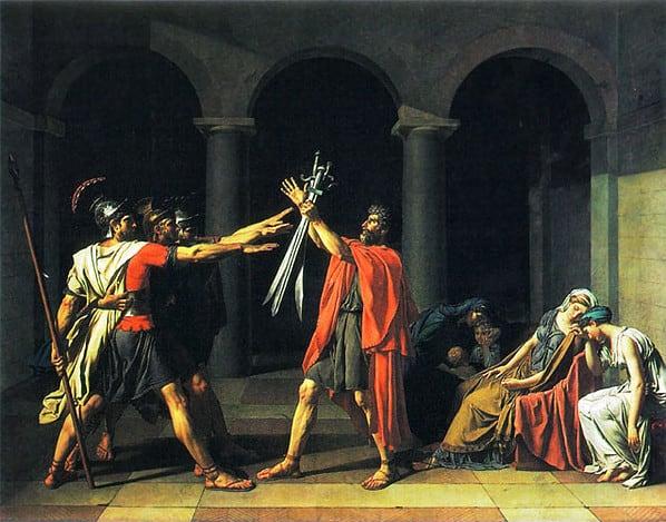 """Jacques-Louis David, """"Il giuramento degli Orazi"""", 1784. Parigi, Museo del Louvre."""