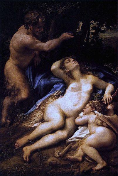 Correggio, Venere e Cupido spiati da un satiro (Giove e Antiope), 1528, olio su tela, 188,5x125,5 cm, Parigi, Museo del Louvre.
