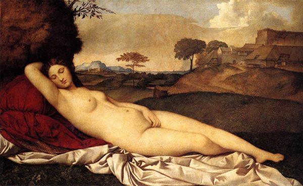 GIorgione (con la collaborazione di Tiziano), Venere dormiente, 1505-1510, olio su tela, 108x175 cm. Dresda, Gemaldegalerie.