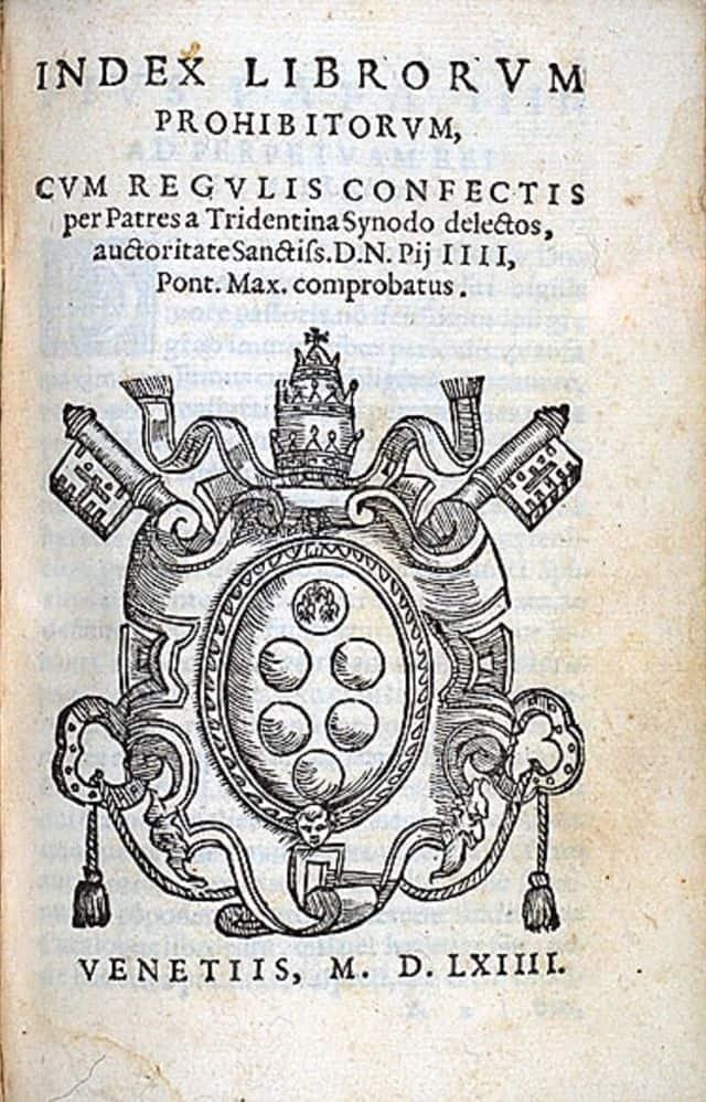 Indice dei Libri Proibiti, una edizione del 1564.