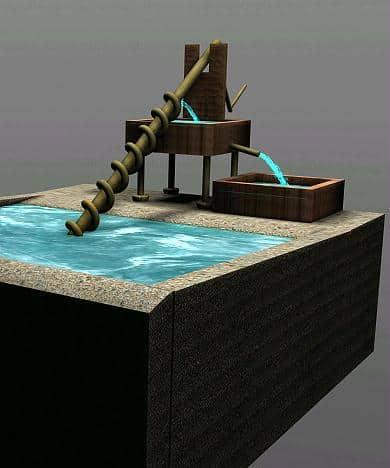 La vite di Archimede o coclea, usata per sollevare l'acqua e in genere le sostanze fluide.