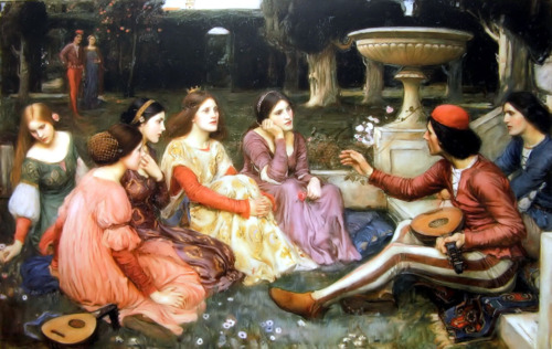I giovani protagonisti del Decameron in un dipinto di John William Waterhouse