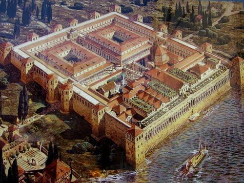 Disegno ricostruttivo del Palazzo di Diocleziano a Spalato (Croazia).