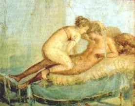 Amore e sesso nell'Antica Roma - Scena erotica, Pompei, Casa del Centenario.