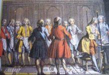 Massoneria - Un nobile presta il giuramento massonico. Incisione del 1750 ca.