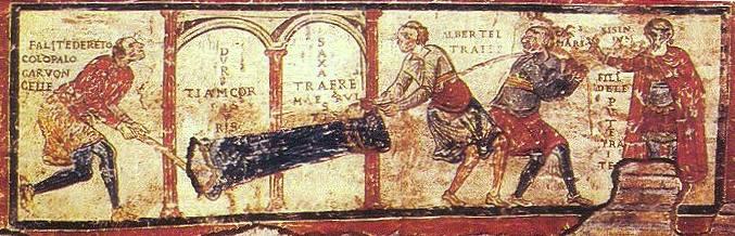 Iscrizione di San Clemente, particolare di un affresco della fine del secolo XI nella Basilica sotterranea di San Clemente a Roma