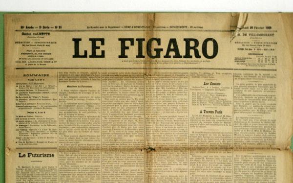 Il 20 febbraio 1909 sul quotidiano parigino Le Figaro fu pubblicato il Manifesto del Futurismo