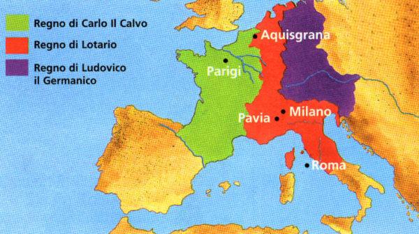Gli effetti della spartizione dell'impero carolingio in seguito al Trattato di Verdun.
