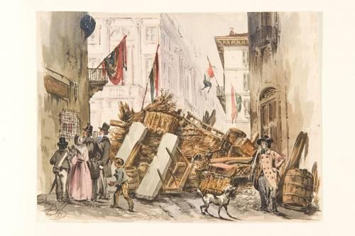 Acquerello di Felice Donghi, 1848, mostrante una delle barricate erette durante le Cinque Giornate di Milano.