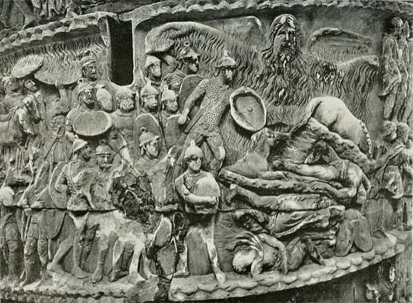 Paarticolare della Colonna Di Marco Aurelio - Il miracolo della pioggia.