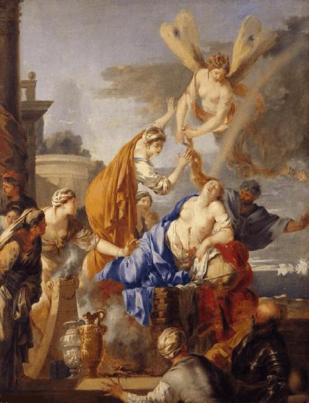 Sebastien Bourdon, Morte di Didone, 1640.